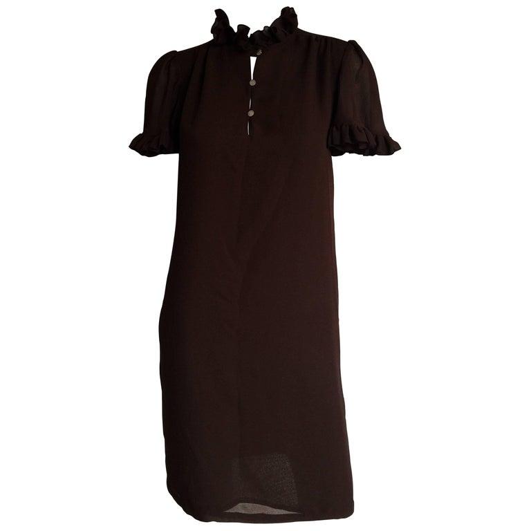 Mr. Blackwell brown ruffle sleeve dress