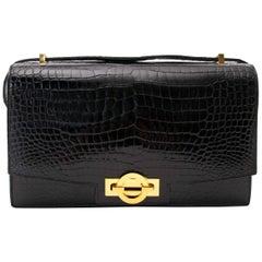 Vintage Hermes Black Croco 'Sac Ring' Shoulder Bag