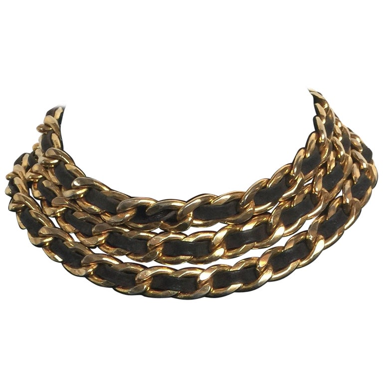 Chanel black leather and gold chain belt or choker