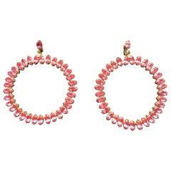 Large pink crystal hoop earrings