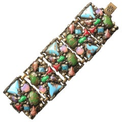 Gold tone and multicolor gemstone bracelet