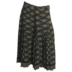 Adolfo black and tan printed pleated silk skirt