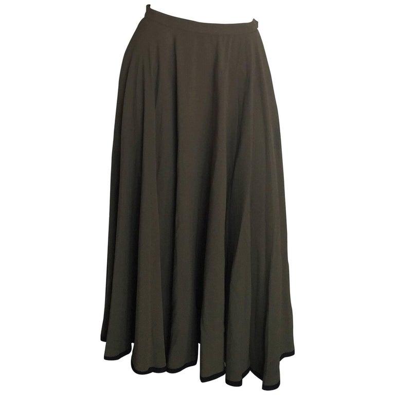 yves laurent olive green midi skirt for sale at 1stdibs