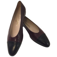 Classic Chanel  Deep Burgundy Flats With Black Cap Toes
