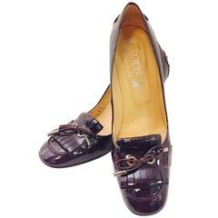 Terrific Tod's Eggplant Patent Leather Tassel High Heel Pumps