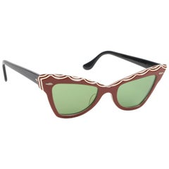 "B&L RAY-BAN c.1956 ""Zanzibar"" BAUSCH & LOMB Wine Red & White Cat Eye Sunglasses"