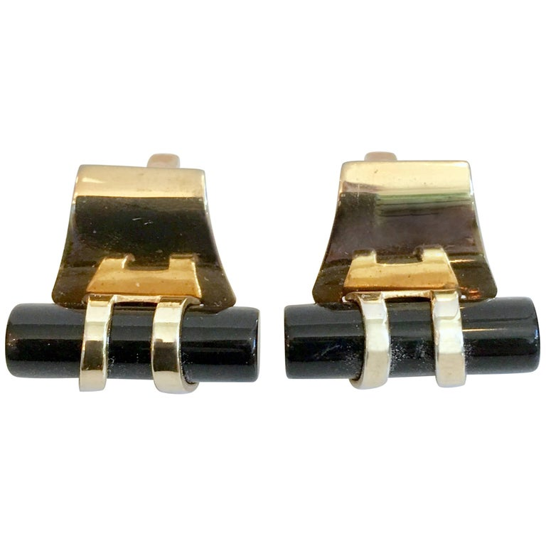 50'S Pair Of Art Deco Style Onyx & 12K Gold Cuff Links By, Anson For Sale