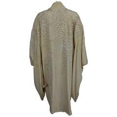 Vintage wisteria embroidered cream silk short kimono 1920s