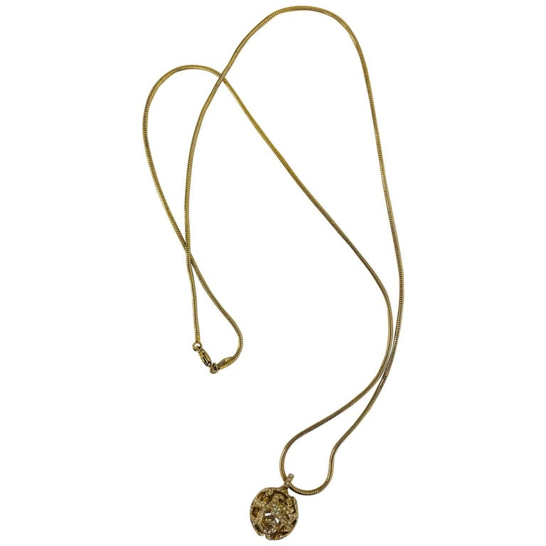 Christian Dior gold snake chain and rhinestone orb drop necklace 1