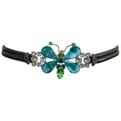 Schreiner New York signed aqua green crystal with silver stretch belt 1960s