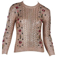 Metallic Pink Gucci Floral Embroidered Sweater