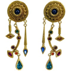 Patricia Locke abstract gold metal and coloured stone shoulder duster earringns