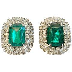 60'S Emerald & Diamond Austrian Crystal Earrings