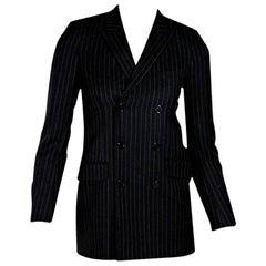 Navy Blue Saint Laurent Pinstripe Wool Blazer