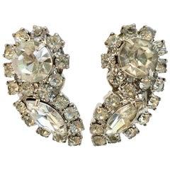 Mid-Century Austrian Crystal Clear Rhinestone Earrinngs