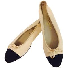 Creative Chanel Beige & Black Grosgrain Ballerina Slippers
