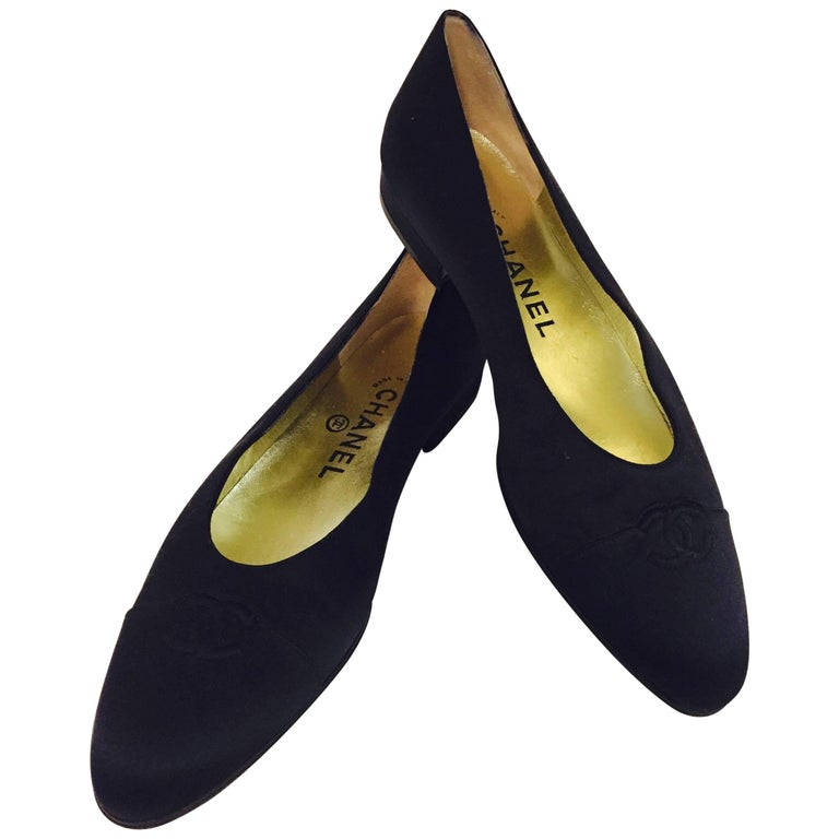 Coveted Chanel Black Satin Pumps w/Cap Toes and Metallic Gold Leather Lining