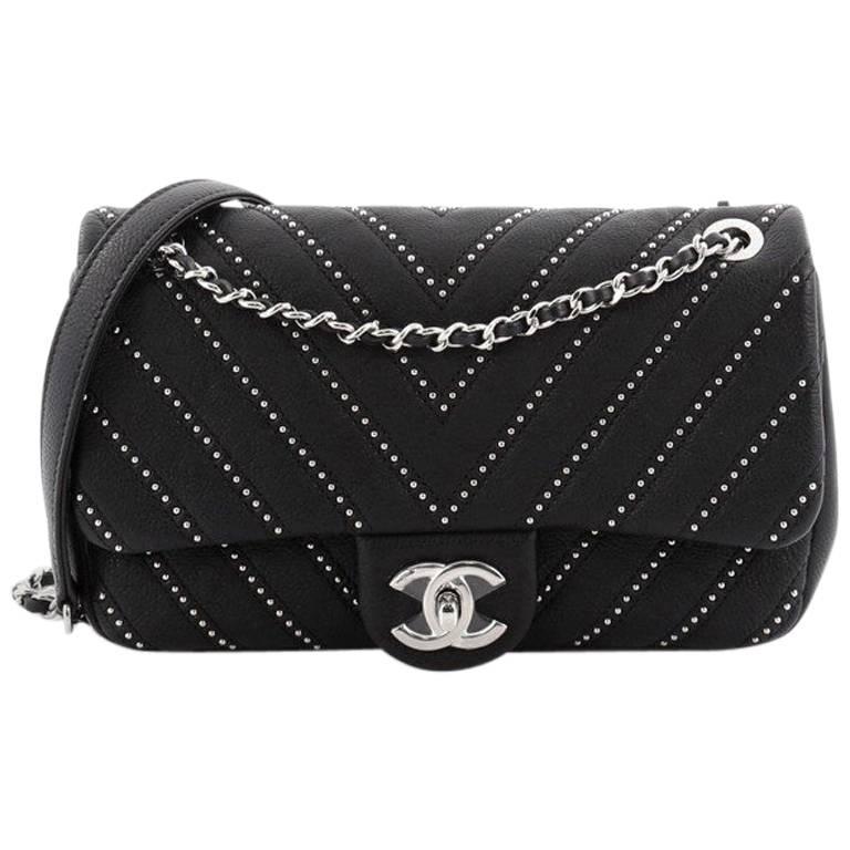 59a48eae10e3d3 Chanel CC Chain Flap Bag Studded Chevron Calfskin Small at 1stdibs