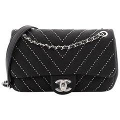 Chanel CC Chain Flap Bag Studded Chevron Calfskin Small