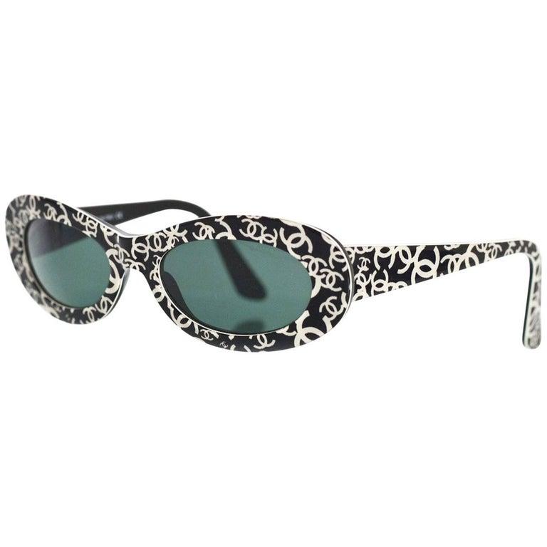 Chanel Rare Vintage Black and Ivory CC Graffiti Sunglasses