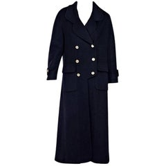 Navy Blue Chanel Long Cashmere Coat