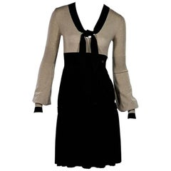 Tan & Black Chanel Wool-Blend Dress