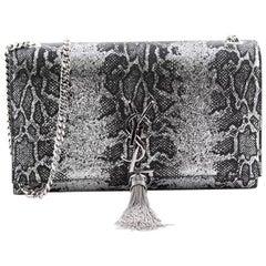 Saint Laurent Classic Monogram Tassel Crossbody Bag Python Embossed Leather Med
