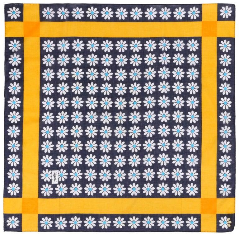 YVES SAINT LAURENT YSL Navy Blue Multicolor Daisy Floral Print Cotton Scarf