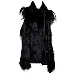 Black Adrienne Landau Lamb Fur Vest