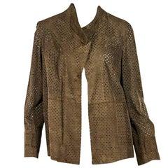 Tan Akris Perforated Suede Shirt Jacket