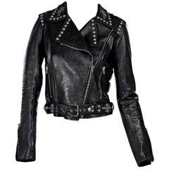 Black Fausto Puglisli Studded Leather Jacket