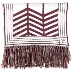 LOUIS VUITTON Burgundy & Beige Wool Blanket Print Fringe Scarves