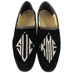 GUCCI Size 7 Black Embroidered Velvet SUCK ME Loafer Slippers