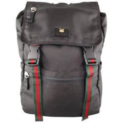 GUCCI Black Nylon Striped Webbing Gold Lion Head Techpack Backpack