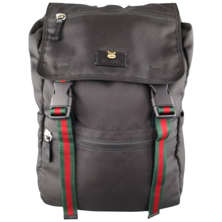 GUCCI Black Nylon Striped Webbing Gold Lion Head Techpack Backpack For Sale