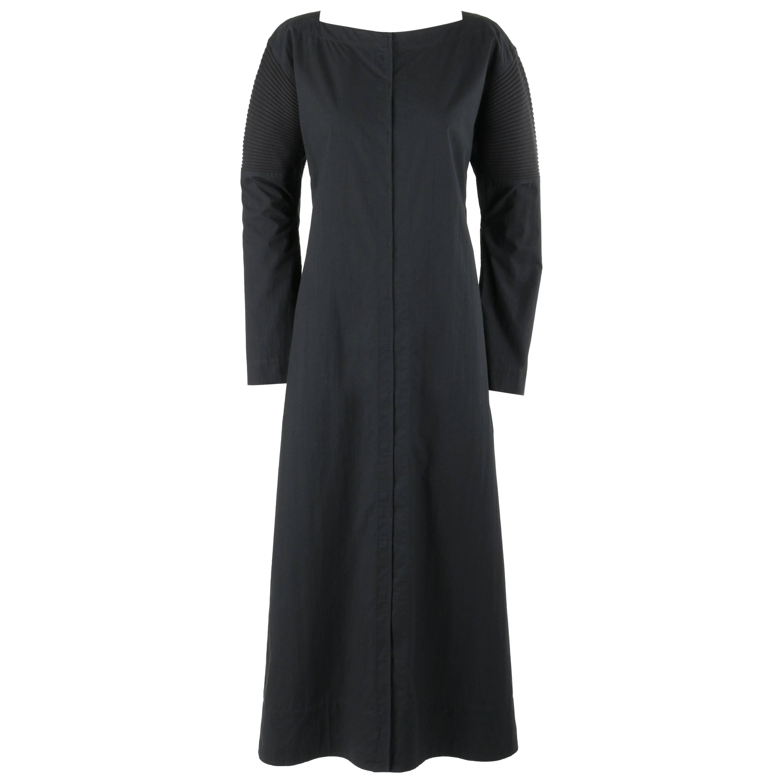 ISSEY MIYAKE Black Long Sleeve Rib Knit Detail Full Length Coat Dress