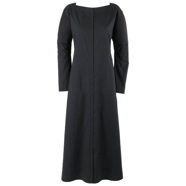 ISSEY MIYAKE Black Long Sleeve Rib Knit Detail Full Length Coat Dress