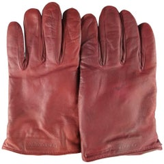 Men's GIORGIO ARMANI Size M Burgundy Lamb Skin Leather Gloves