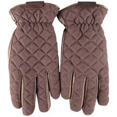 Men's ARMANI COLLEZIONI Size L Brown Quilted Wool & Leather Gloves