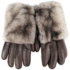 Men's GIORGIO ARMANI Size M Brown Leather Fur Patch Gloves