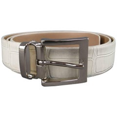 EMPORIO ARMANI Size 36 Off White Crocodile Embossed Leather Belt