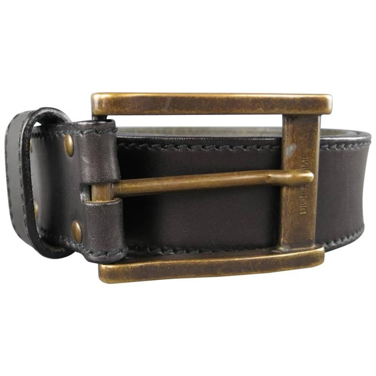 Men's DIOR HOMME Size 34 Black Leather Dark Gold Brass Buckle Belt