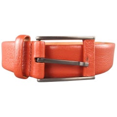 GIORGIO ARMANI Size 34 Burnt Orange Pebbled Leather Belt