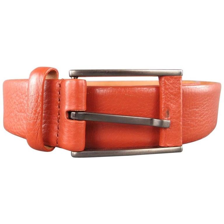 GIORGIO ARMANI Size 34 Burnt Orange Pebbled Leather Belt For Sale