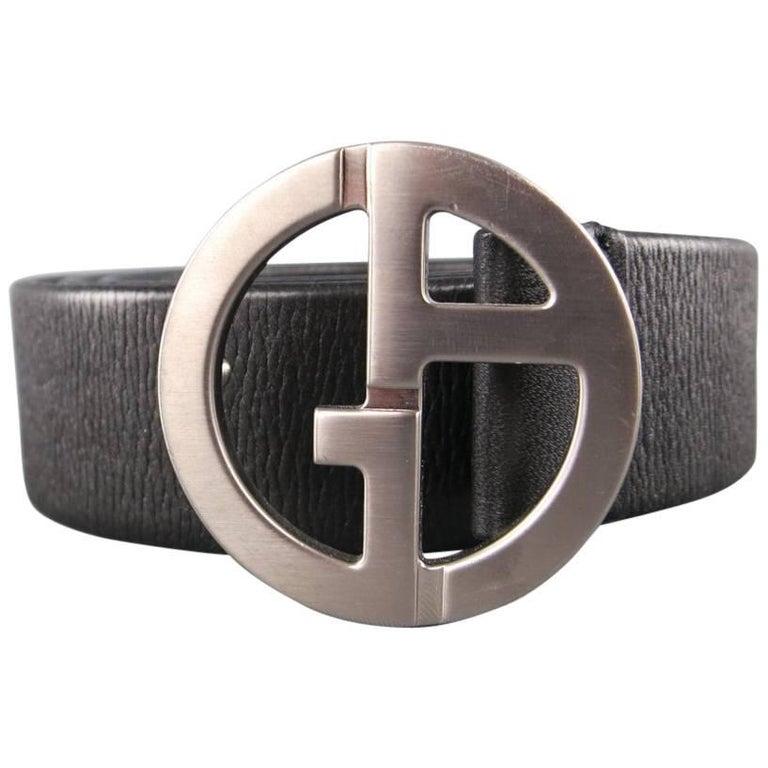 GIORGIO ARMANI Size 36 Black Textured Leather Silver GA Belt