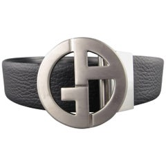 GIORGIO ARMANI Size 44 Black Smooth & Textured Leather Reversible Silver GG Belt