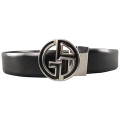 GIORGIO ARMANI Size 44 Black Leather GA Enamel Buckle Belt