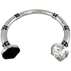 VERSACE Black Crystal Studded Silver Medusa Bracelet