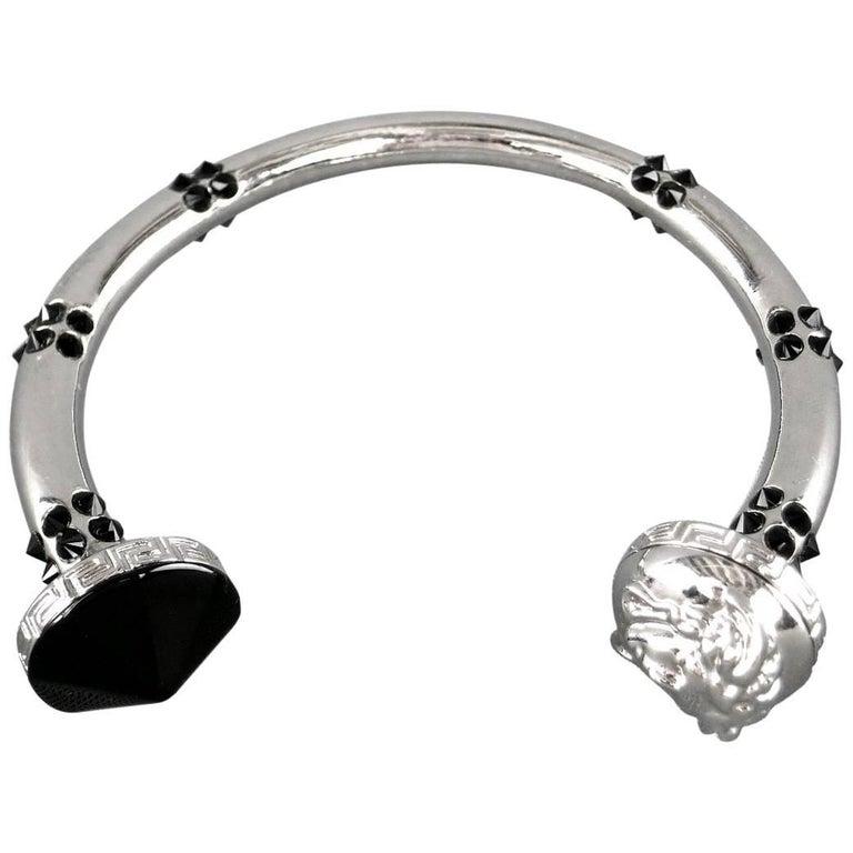 VERSACE Black Crystal Studded Silver Medusa Bracelet For Sale