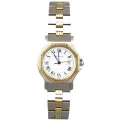 Vintage CARTIER Watch Silver Stainless Steel & 18k Gold